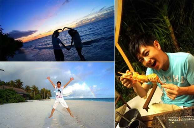 林志颖一家三口海边度假 微博晒夕阳浪漫晚餐