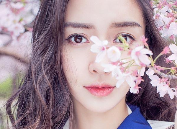 Angelababy穿校服賞櫻花 仙氣十足少女感爆棚