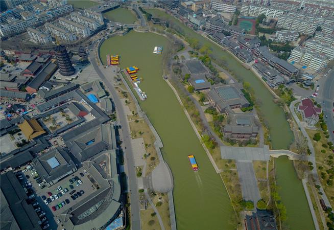 航拍淮安裏運河 古文明和現代文明的交融
