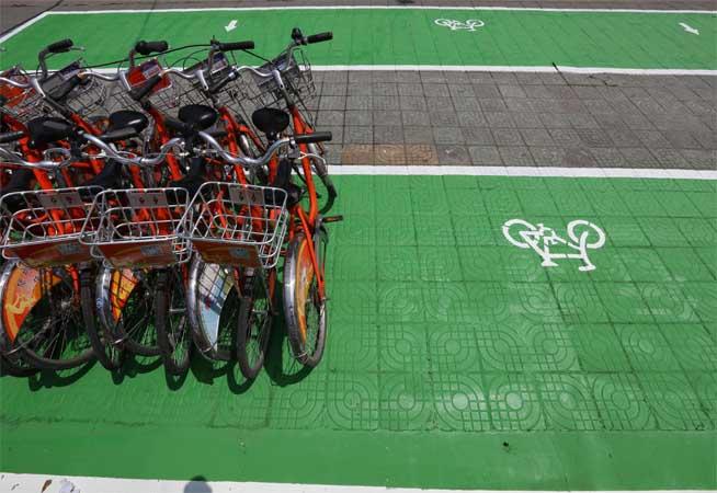 綠色非機動車停車示范點亮相南京街頭