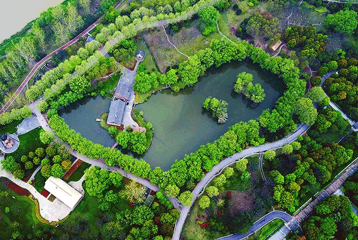 航拍長江沿岸最大的城市公園——南京綠博園
