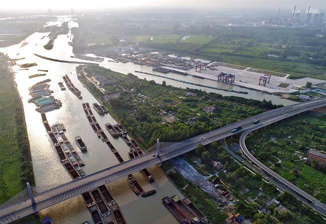 航拍黄金运输线京杭大运河