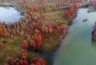 航拍冬日天泉湖