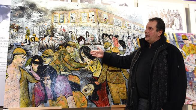 """法国画家创作并捐赠""""慰安妇""""题材油画"""