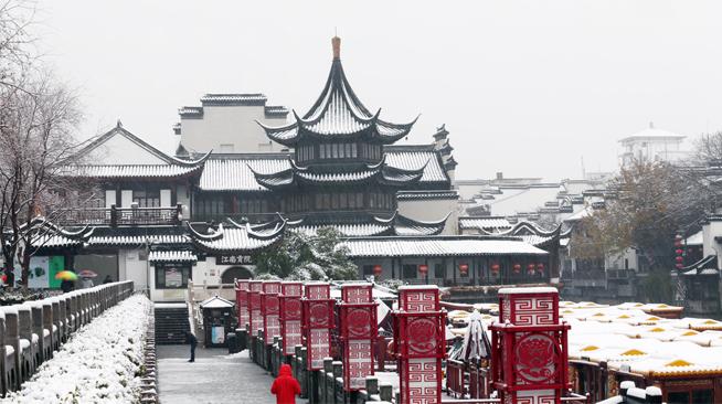 江苏各地迎来2018年第一场雪