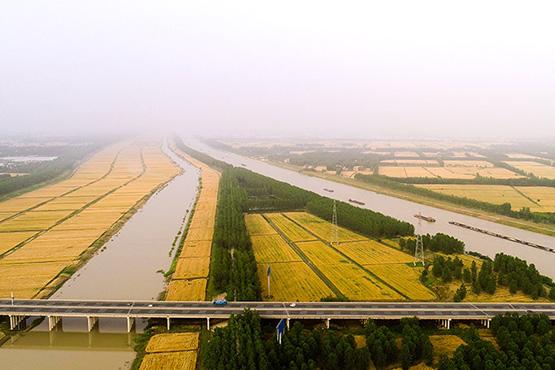 航拍苏北灌溉总渠 润泽江淮平原