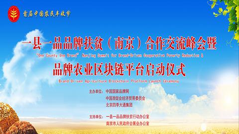 一縣一品品牌扶貧(南京)合作峰會暨品牌農業區塊鏈平臺上線儀式