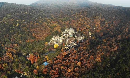 航拍南京棲霞山 楓葉迎來最佳觀賞期