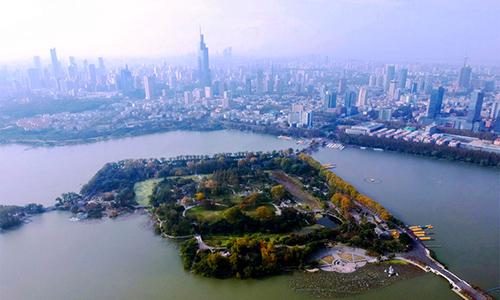 """航拍南京玄武湖 一顆閃耀千年的""""金陵明珠"""""""