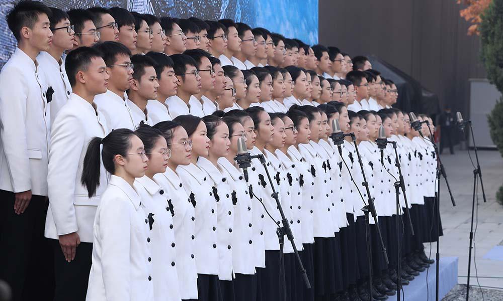 南京市青少年代表宣读《和平宣言》