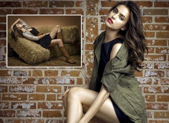 性感 写真 江苏/C罗女友拍性感广告写真稻草堆上大秀美腿