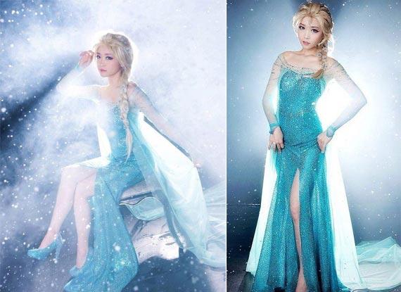 《冰雪奇缘》女主艾莎cos 魔幻冰雪背景